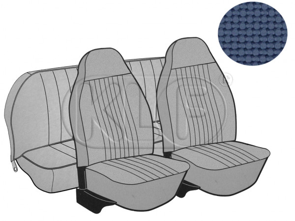 Seat Covers, front+rear, Basket, year 8/7 sedan, blue with integrated headrest