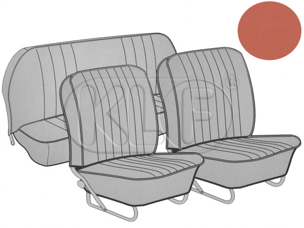 Seat Covers set front and rear, smooth leatherette, 8/57-7/64, brick red