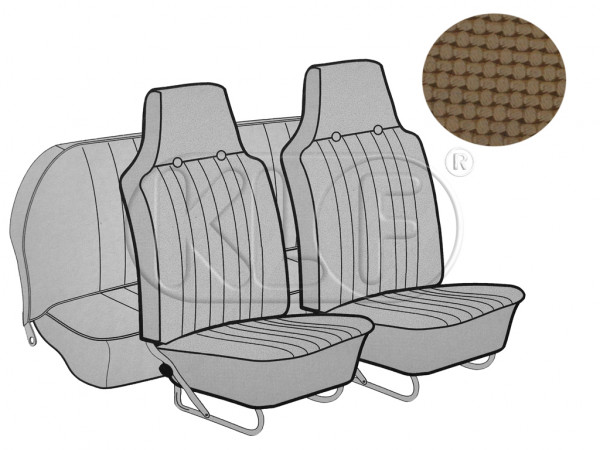 Seat Covers, front+rear, Basket, sedan, tan with integrated headrest year 12/66-7/69