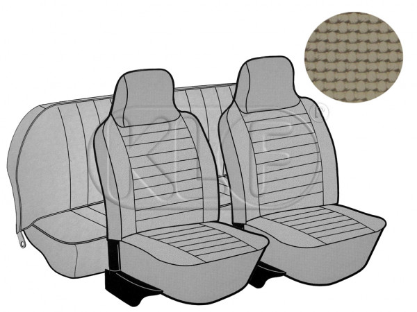 Seat Covers, front+rear, Basket, year 8/73-7/75 sedan, beige with integrated headrest