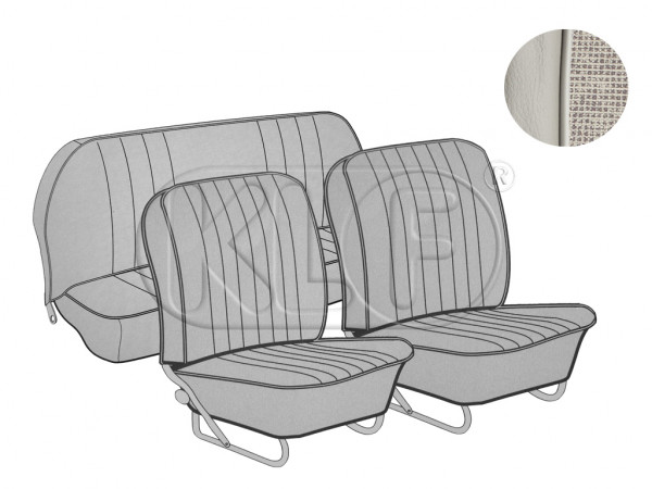 Seat Covers set front and rear, smooth leatherette, 8/57-7/64, mesh offwhite