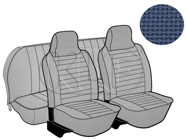Seat Covers, front+rear, Basket, year 8/73-7/75 sedan, blue with integrated headrest