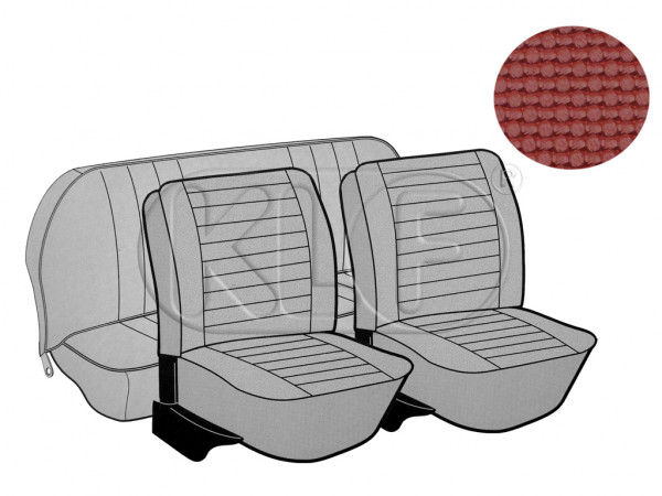 Seat Covers, front+rear, Basket, year 8/7 sedan, red