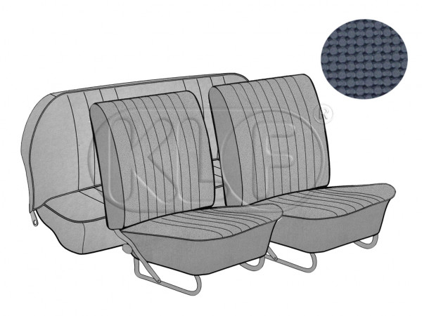 Seat Covers, front+rear, Basket, year 12/66-7/72, sedan, blue, european style