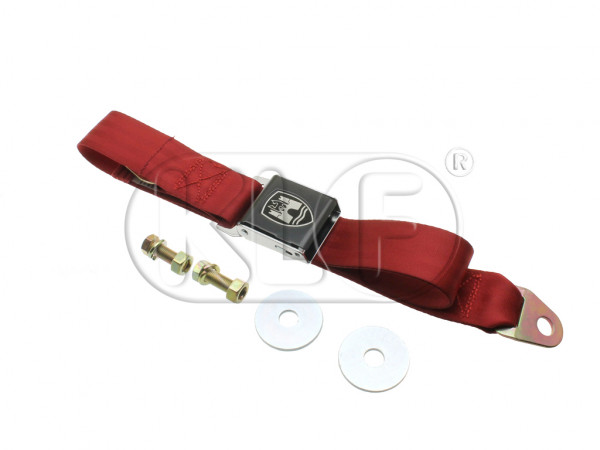 Seat Belt 2-point, black buckle, red