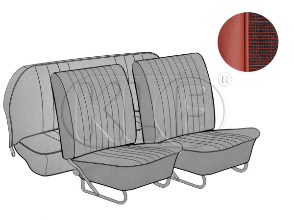 Seat Covers, front and rear, smooth leatherette, brickred / mesh 08/64 - 11/66
