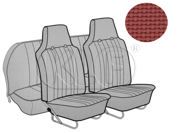 Seat Covers, front+rear, Basket, sedan, red with integrated headrest year 12/66-7/72