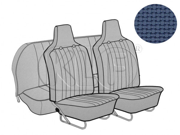 Seat Covers, front+rear, Basket, year 8/6 sedan, blue with integrated headrest