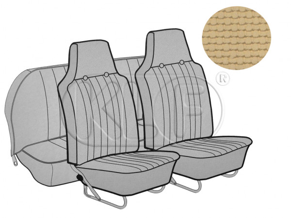 Seat Covers, front+rear, Basket, sedan, saddle with integrated headrest year 12/66-7/72