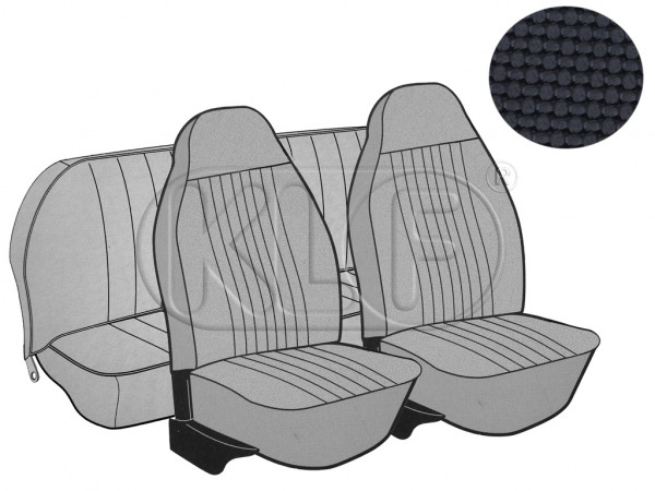 Seat Covers, front+rear, Basket, year 8/7 sedan, black with integrated headrest
