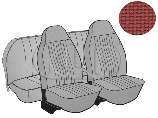 Seat Covers, front+rear, Basket, year 8/7 sedan, red with integrated headrest