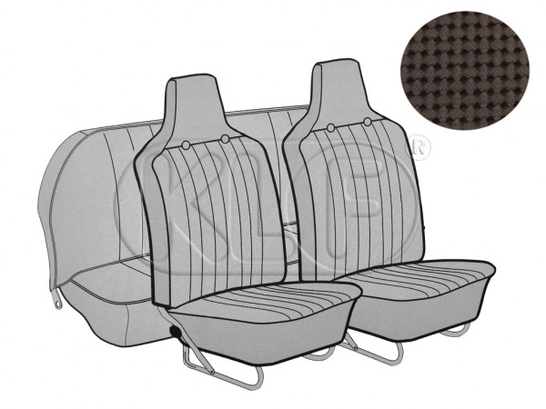 Seat Covers, front+rear, Basket, year 8/6 sedan, brown with integrated headrest
