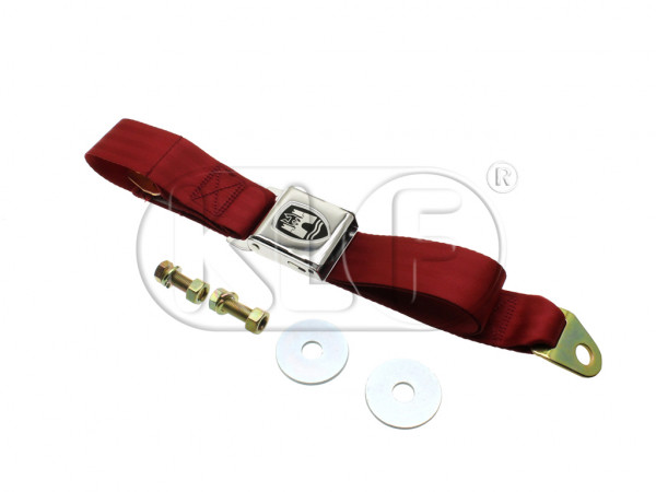 Seat Belt, red, 2-point mounting, chrome buckle