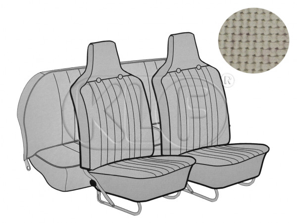 Seat Covers, front+rear, Basket, year 8/6 sedan, off white with integrated headres