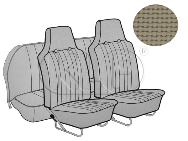 Seat Covers, front+rear, Basket, sedan, beige with integrated headrest year 12/66-7/69