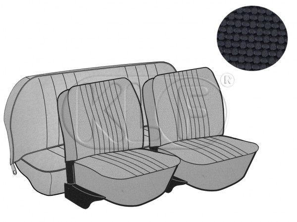 Seat Covers, front+rear, Basket, year 8/72-7/73 sedan, black