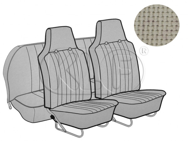 Seat Covers, front+rear, Basket, sedan, off white with integrated headres year 12/66-7/69
