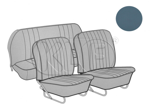 Seat Covers set front and rear, smooth leathertte, 8/57-7-64, water blue