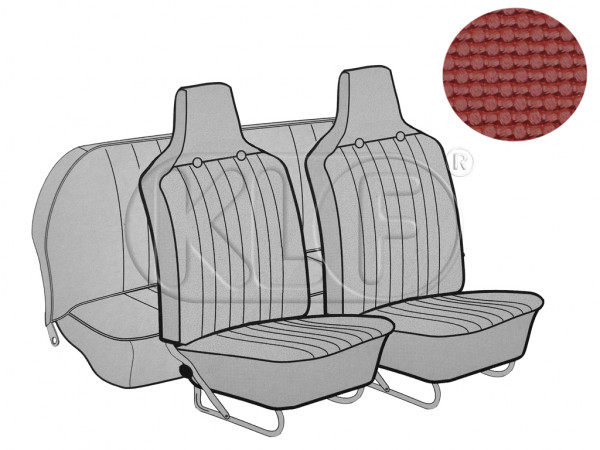 Seat Covers front+rear, Basket, year 8/69-7/72 sedan, red with integrated headrest