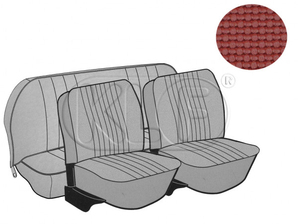 Seat Covers, front+rear, Basket, year 8/72-7/73 sedan, red