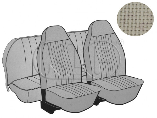Seat Covers, front+rear, Basket, year 8/72-7/73, sedan, off white with integrated headres