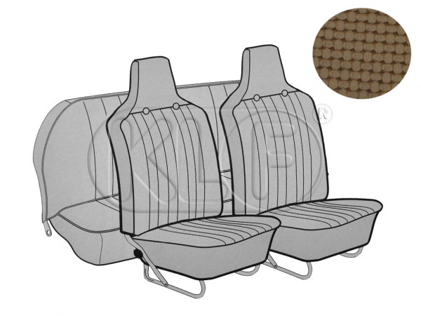 Seat Covers, front+rear, Basket, year 8/6 sedan, tan with integrated headrest