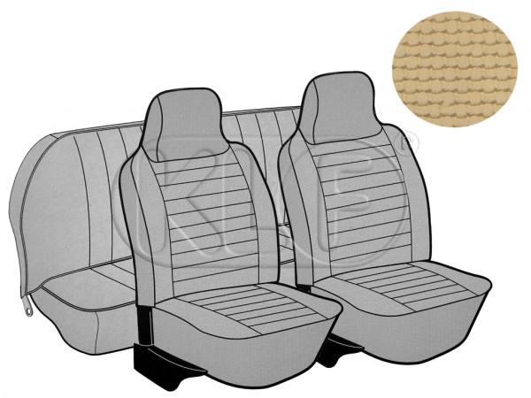 Seat Covers, front+rear, Basket, year 8/73-7/75 sedan, saddle with integrated headrest