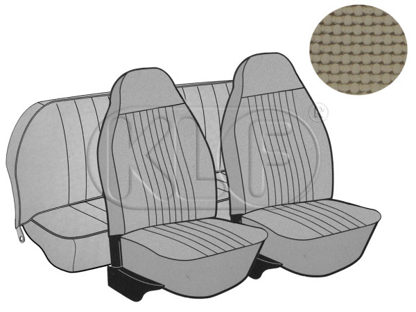 Seat Covers, front+rear, Basket, year 8/7 sedan, beige with integrated headrest