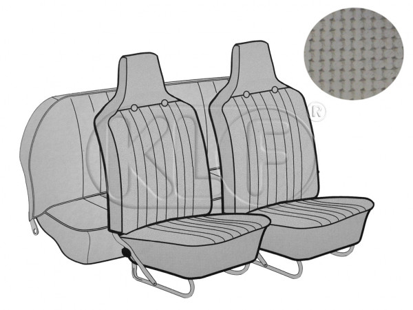 Seat Covers front+rear, Basket, year 8/6 sedan, grey with integrated headrest