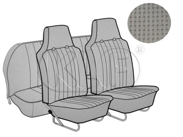 Seat Covers, front+rear, Basket, sedan, grey with integrated headrest year 12/66-7/72