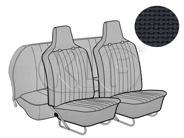 Seat Covers, front+rear, Basket, year 8/69-7/72 sedan, black with integrated headrest