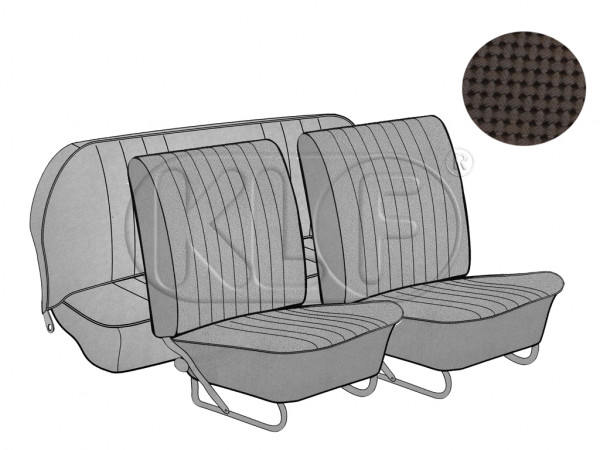 Seat Covers, front+rear, Basket, year 12/66-7/72, brown, sedan european style