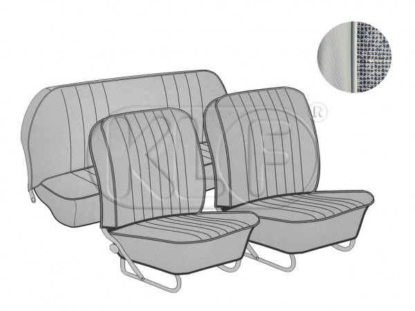 Seat Covers set front and rear, smooth leatherette, 8/57-7/64, mesh grey