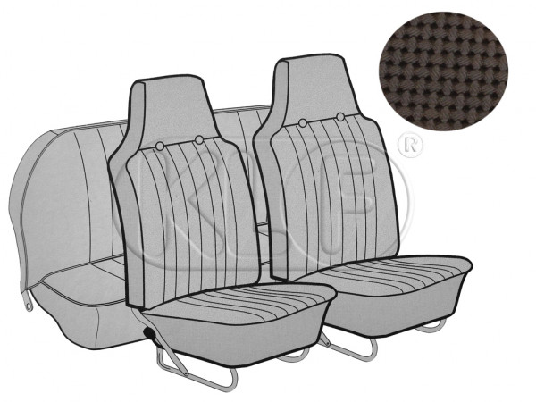Seat Covers, front+rear, Basket, sedan, brown with integrated headrest year 12/66-7/69