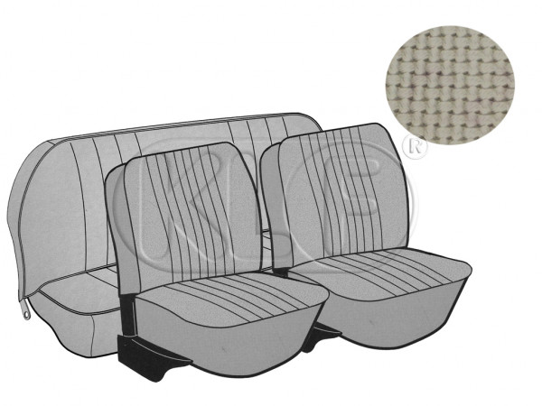 Seat Covers, front+rear, Basket, year 8/72-7/73 sedan, off white