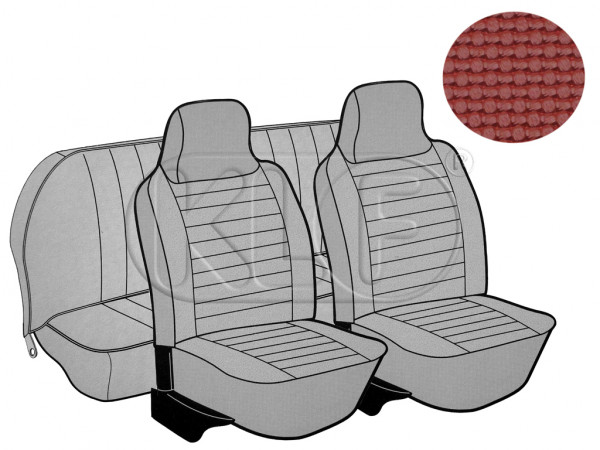Seat Covers, front+rear, Basket, year 8/73-7/75 sedan, red with integrated headrest