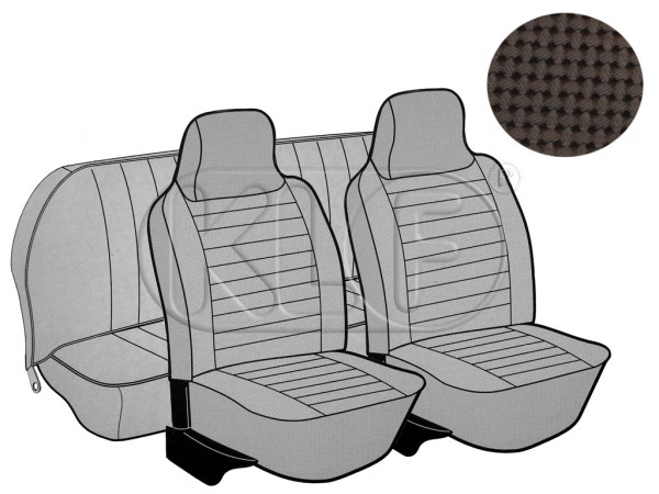 Seat Covers, front+rear, Basket, year 8/73-7/75 sedan, brown with integrated headrest