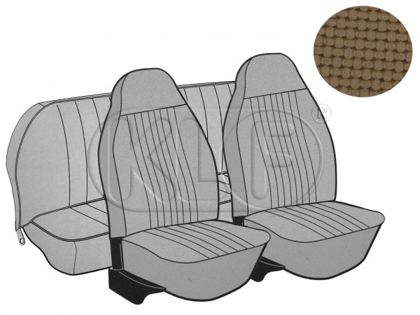 Seat Covers, front+rear, Basket, year 8/7 sedan, tan with integrated headrest
