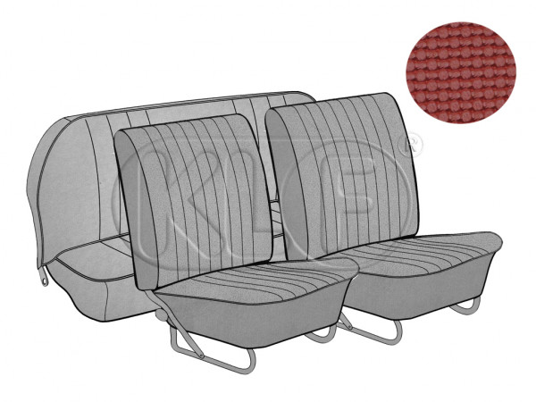 Seat Covers, front+rear, Basket, year 12/66-7/72, sedan, red, european style
