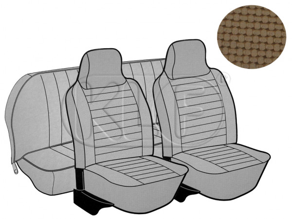 Seat Covers, front+rear, Basket, year 8/73-7/75 sedan, tan with integrated headrest