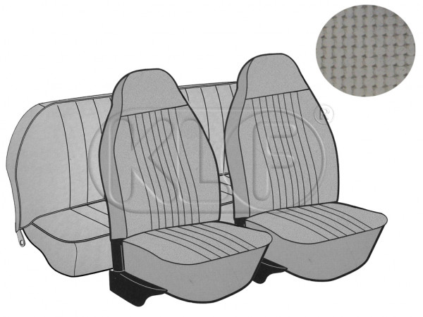 Seat Covers, front+rear, Basket, year 8/7 sedan, grey with integrated headrest
