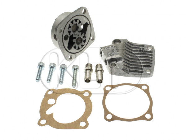 Oil Pump heavy duty, 26 mm, with in- and outlet, year thru 7/71 (3-hole camshaft gear) Alternative Quality